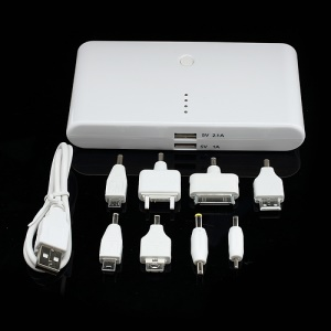 20000mAh Dual USB Power Bank External Battery Charger for iPhone iPad Samsung HTC LG Nokia etc - White