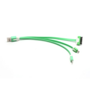 3 in 1 Lightning + 30 Pin + Micro USB Data Sync Charge USB Cable for iPhone 5 / 4S Samsung Galaxy S IV HTC - Green