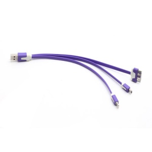 3 in 1 Lightning + 30 Pin + Micro USB Data Sync Charge USB Cable for iPhone 5 / 4S Samsung Galaxy S IV HTC - Purple
