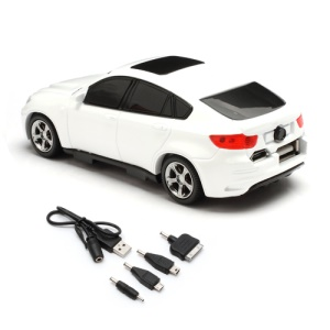 6800mAh Car Shaped Power Bank with LED Display for iPhone iPad iPod Samsung HTC LG Nokia GPS etc - White