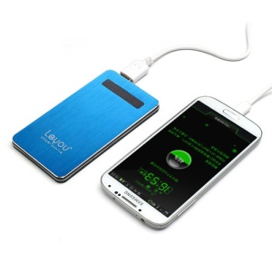 5000mAh Leyou LY750 Brushed Power Bank External Battery Charger for iPhone iPad iPod Samsung HTC LG Sony - Blue