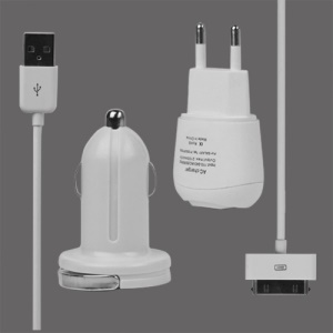 3 in 1 Wall Car Charger and Data Cable for Samsung Galaxy Tab P1000/P7500 Euro Plug - White