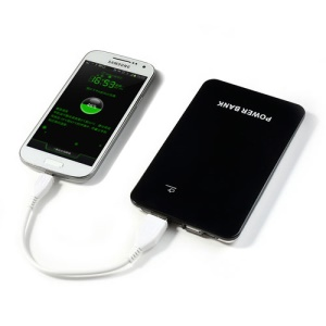 6000mAh Universal Dual USB Output Touch Switch Mobile Power Bank - Black