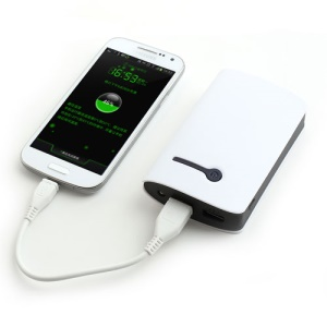 6000mAh Universal Two USB Output External Battery Power Bank w/ LED Flashlight - White