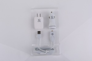 White KLX Lx008 3 in 1 Dual USB Car Charger + USB Wall Charger (US Plug)+ Detachable Lightning & Micro USB Cable for iPhone iPad Samsung LG