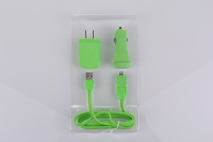 Green KLX Lx008 3 in 1 Dual USB Car Charger + USB Wall Charger (US Plug) + Detachable Lightning & Micro USB Cable for iPhone iPad Samsung LG