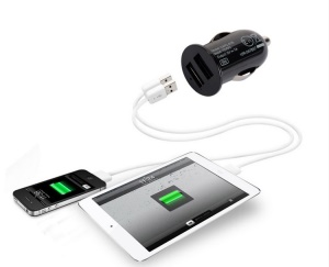 CAPDASE Pico G2 1A 5W Mini Dual USB Car Charger for iPhone iPod Samsung HTC LG etc - Black