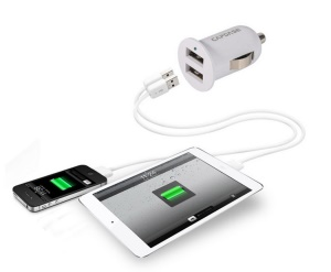 CAPDASE Pico G2 1A 5W Mini Dual USB Car Charger for iPhone iPod Samsung HTC LG etc - White