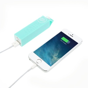 Cyan Exquis 2600mAh Distinctive Milk Box Power Bank for iPhone Samsung HTC Sony LG