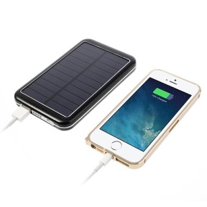 8000mAh High Capacity Portable Solar Charger Backup Battery Power Bank - Black