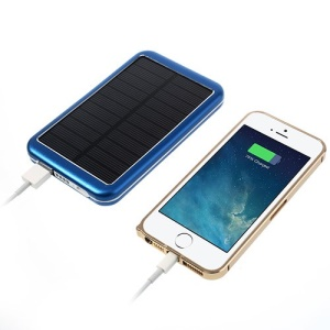 8000mAh High Capacity Portable Solar Charger Backup Battery Power Bank - Blue