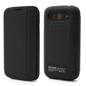 2400mAh Keva Leather Flip Extended Battery Cover Housing for Samsung Galaxy Grand i9082 - Black