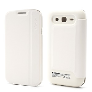 2400mAh Keva Leather Flip Extended Battery Cover Housing for Samsung Galaxy Grand i9082 - White