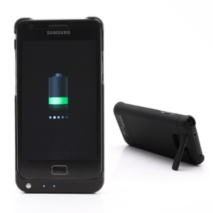 2000mAh External Power Battery Charger Case Stand for Samsung I9100 Galaxy S 2 II - Black