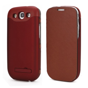 2200mAh Leather Rechargeable External Battery Case for Samsung Galaxy S III I9300 - Red