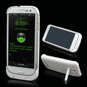 3200mAh Power Bank Battery Charger Case Stand for Samsung Galaxy S 3 III I9300 I747 L710 T999 I535 R530 - White