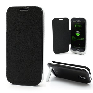 3200mAh Flip Leather Extended Battery Charger Case for Samsung Galaxy S4 i9500 - Black