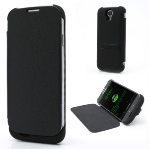 3300mAh Leather Flip Battery Backup Power Case for Samsung Galaxy S IV S4 i9500 i9502 i9505 - Black