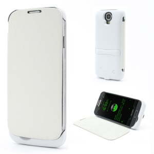 3300mAh Leather Flip Battery Backup Power Case for Samsung Galaxy S IV S4 i9500 i9502 i9505 - White