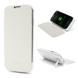 3200mAh Slidling Power Bank Battery Charger Case w/ Front Leather Cover for Samsung Galaxy S4 i9500 i9502 i9505 - White