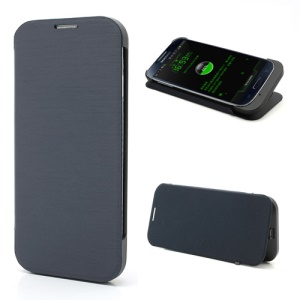 Black 3300mAh Extended Battery Charger Case with Leather Flip for Samsung Galaxy S4 i9500