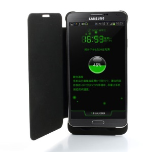 Black for Samsung Galaxy Note 3 External Battery w/ Front Leather Cover 3300mAh