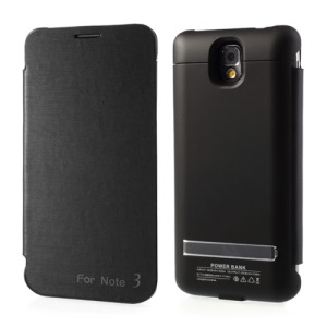 Black Leather Flip Backup Battery Charger Case for Samsung Galaxy Note 3 N9005 w/ Kickstand, 3800mAh