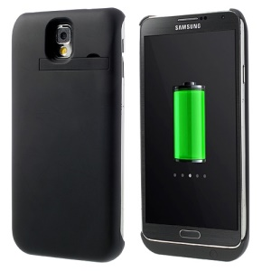 3800mAh Glossy Battery Charger Case w/ Stand for Samsung Galaxy Note 3 N9005 N9002 N9000 - Black