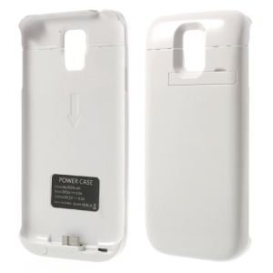 3500mAh External Battery Charger w/ Kickstand for Samsung Galaxy S5 SV G900 - White