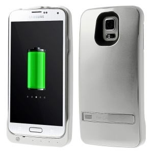 3200mAh Battery Power Bank Charger Case w/ Kickstand for Samsung Galaxy S5 G900 - Silver