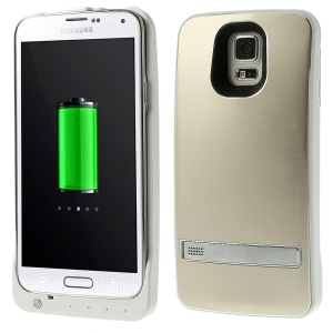 3200mAh External Backup Battery Charger Case w/ Kickstand for Samsung Galaxy S5 G900 - Champagne
