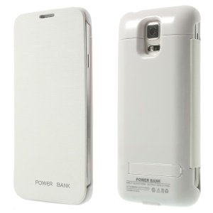 3200mAh Leather Flip Backup Charger Power Case w/ Kickstand for Samsung Galaxy S5 G900 - White