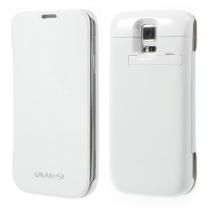 4800mAh for Samsung Galaxy S5 SV G900 Leather Flip Backup Battery Charger Case w/ Kickstand  - White