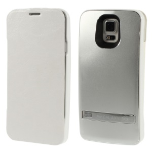 3200mAh Crazy Horse Leather Flip Backup Charger Case for Samsung Galaxy S5 G900 w/ Kickstand - Silver