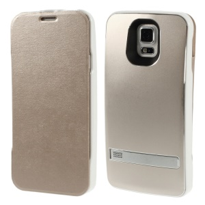 3200mAh Crazy Horse Leather Folio Backup Battery Charger Case for Samsung Galaxy S5 G900 w/ Kickstand - Champagne