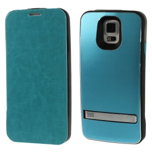 3200mAh Crazy Horse Flip Leather Battery Power Charger Case for Samsung Galaxy S5 G900 w/ Kickstand - Blue