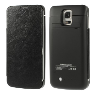 3800mAh Crazy Horse Leather Flip Battery Charger Case w/ Kickstand for Samsung Galaxy S5 G900 - Black