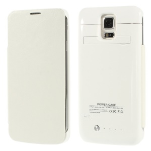 3800mAh Crazy Horse Leather Flip Power Charger Case w/ Kickstand for Samsung Galaxy S5 G900 - White