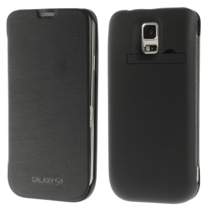 4800mAh Extended Battery Leather Flip Power Case w/ Kickstand for Samsung Galaxy S5 G900 - Black