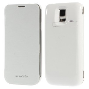 4800mAh Extended Battery Leather Flip Power Case w/ Kickstand for Samsung Galaxy S5 G900 - White