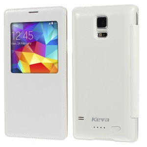 Keva 2400mAh Smart Backup Battery Leather Case for Samsung Galaxy S5 - White