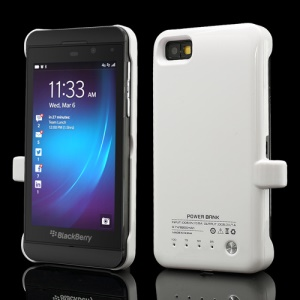 2200mAh External Battery Power Bank Charger Case for BlackBerry Z10 - White