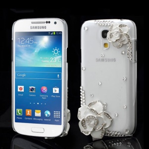 White Flowers Diamand Case for Samsung Galaxy S4 mini I9190 I9192 I9195