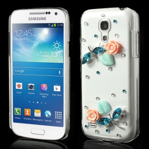 For Samsung Galaxy S4 mini i9190 Colorized Butterfly & Floral Diamond Case