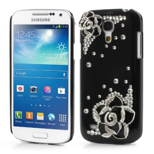 Black for 3D Flowers Diamante Samsung Galaxy S4 mini i9190 Crystal Cover