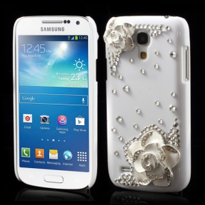 White for 3D Flowers Diamante Samsung Galaxy S4 mini i9190 Crystal Case