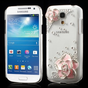 Transparent for 3D Flowers Diamante Samsung Galaxy S4 mini i9190 Crystal Cover