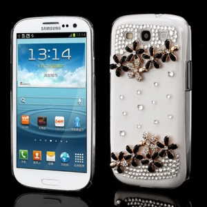 Black Flower Diamante Bling Crystal Case for Samsung Galaxy S3 / III I9300