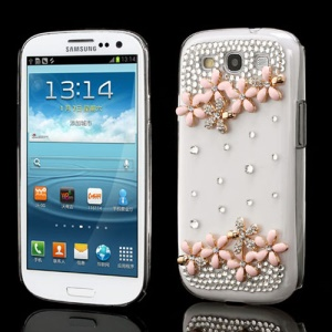 Pink Flower Bling Diamante Crystal Cover for Samsung I9300 Galaxy S3 / III