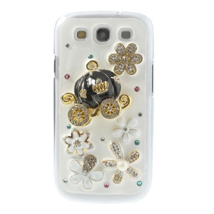3D Pumpkin Coach & Flower Rhinestone Hard Cover for Samsung Galaxy S3 I9300